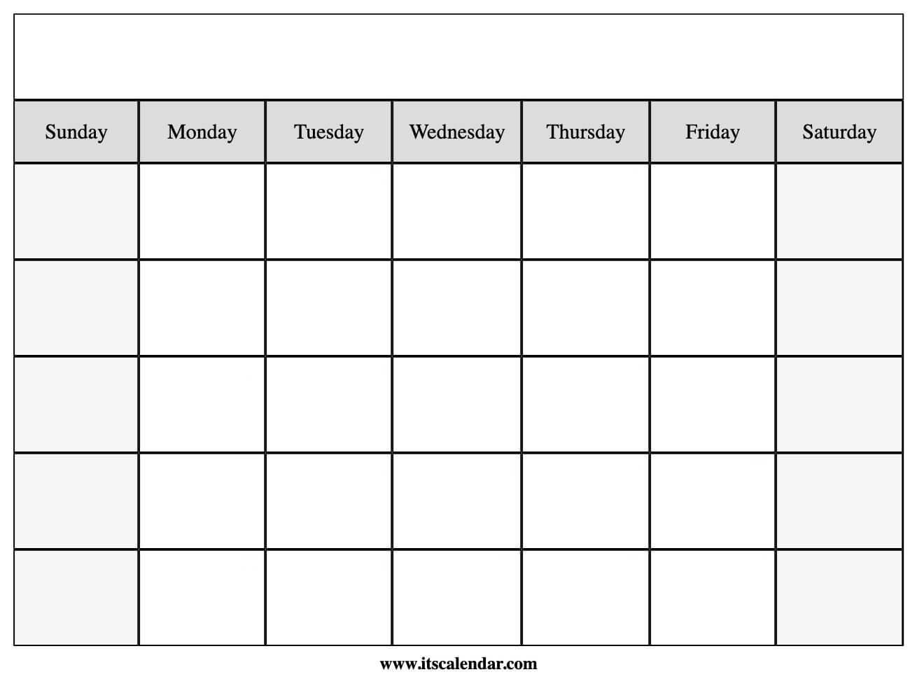 Blank Template Calendar from www.itscalendar.com