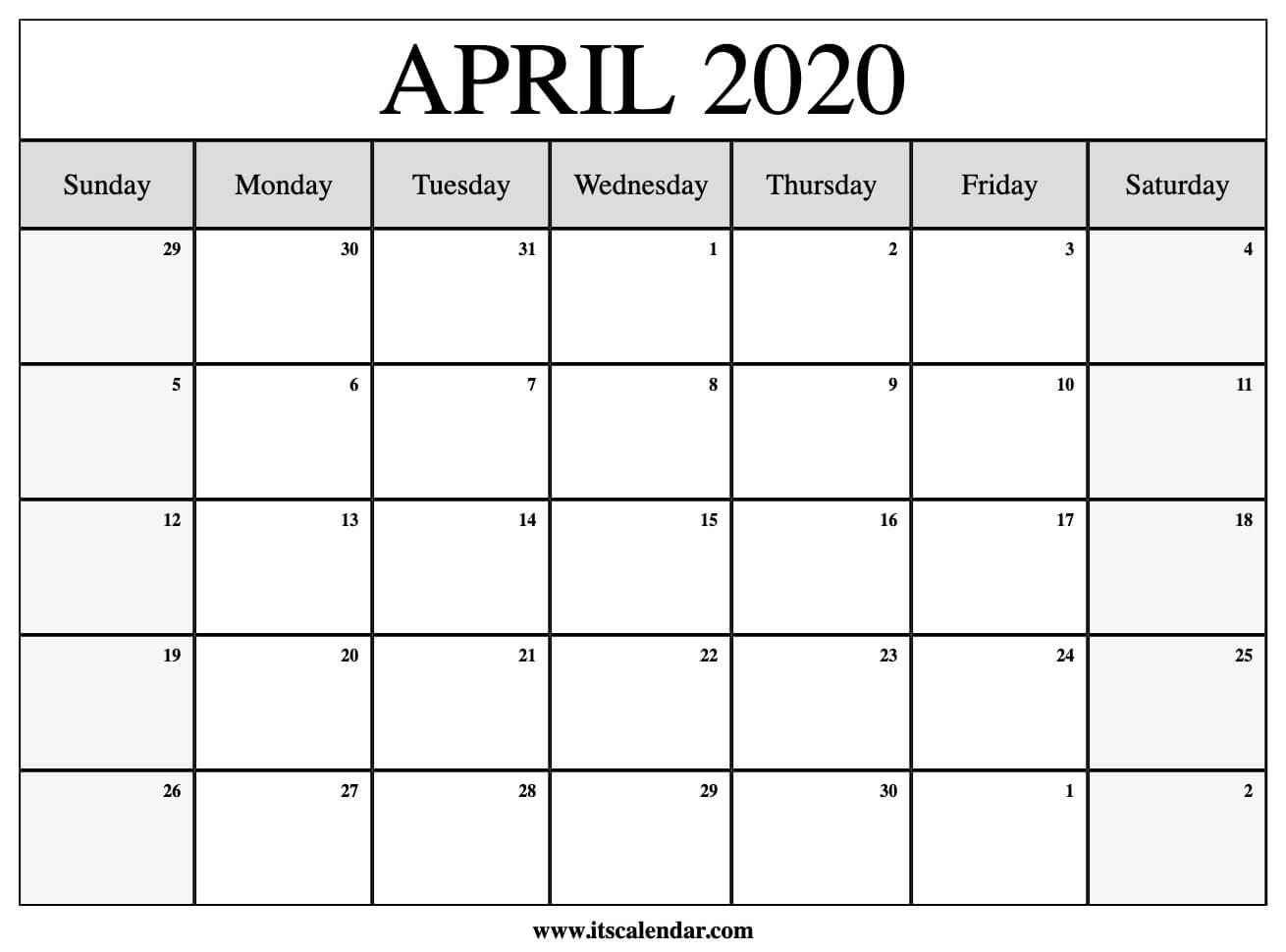 free april 2020 calendar template - Jasonkellyphoto co