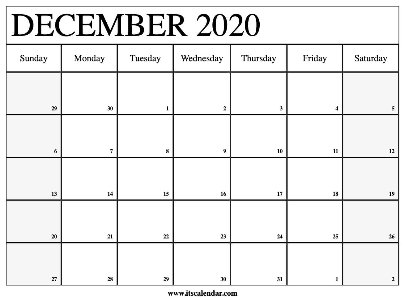 Printable Calendar December 2020.Free Printable December 2020 Calendar