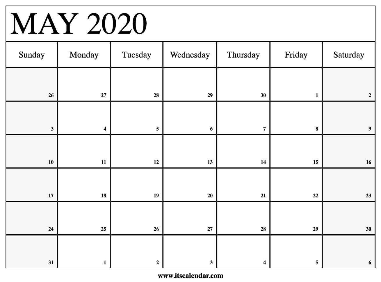 May Printable Calendar 2020.Free Printable May 2020 Calendar