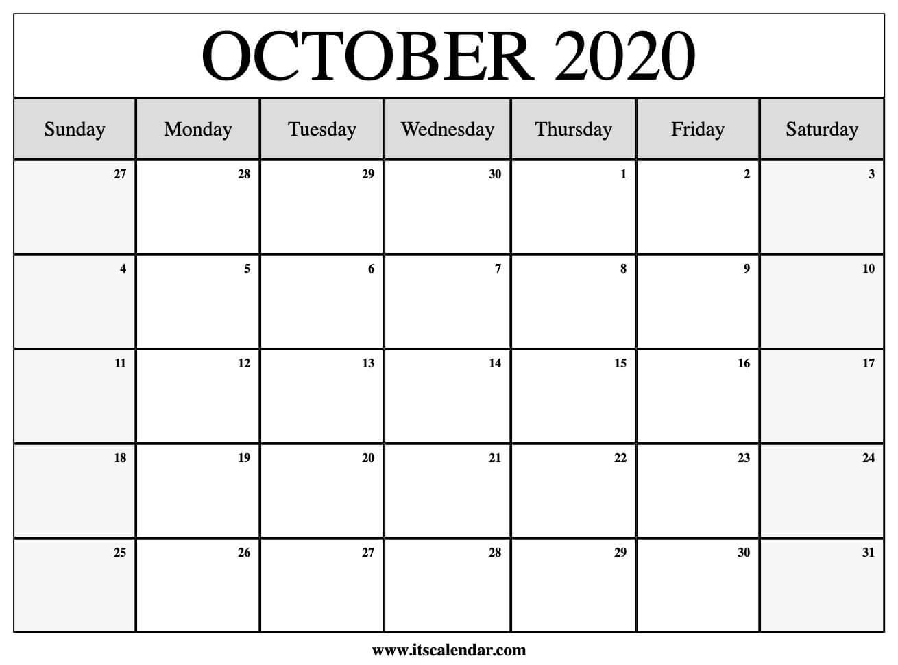 Calendar October 2020 Printable.Free Printable October 2020 Calendar