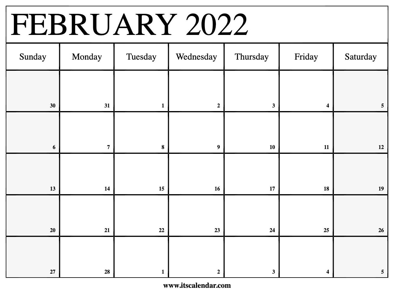 2022 Calendar February.Free Printable February 2022 Calendar