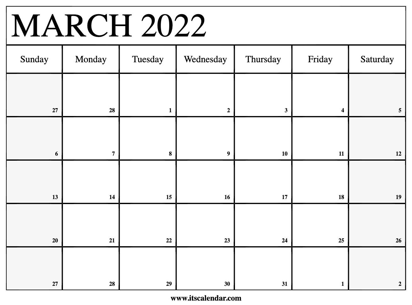 Calendar Template March 2022.Free Printable March 2022 Calendar