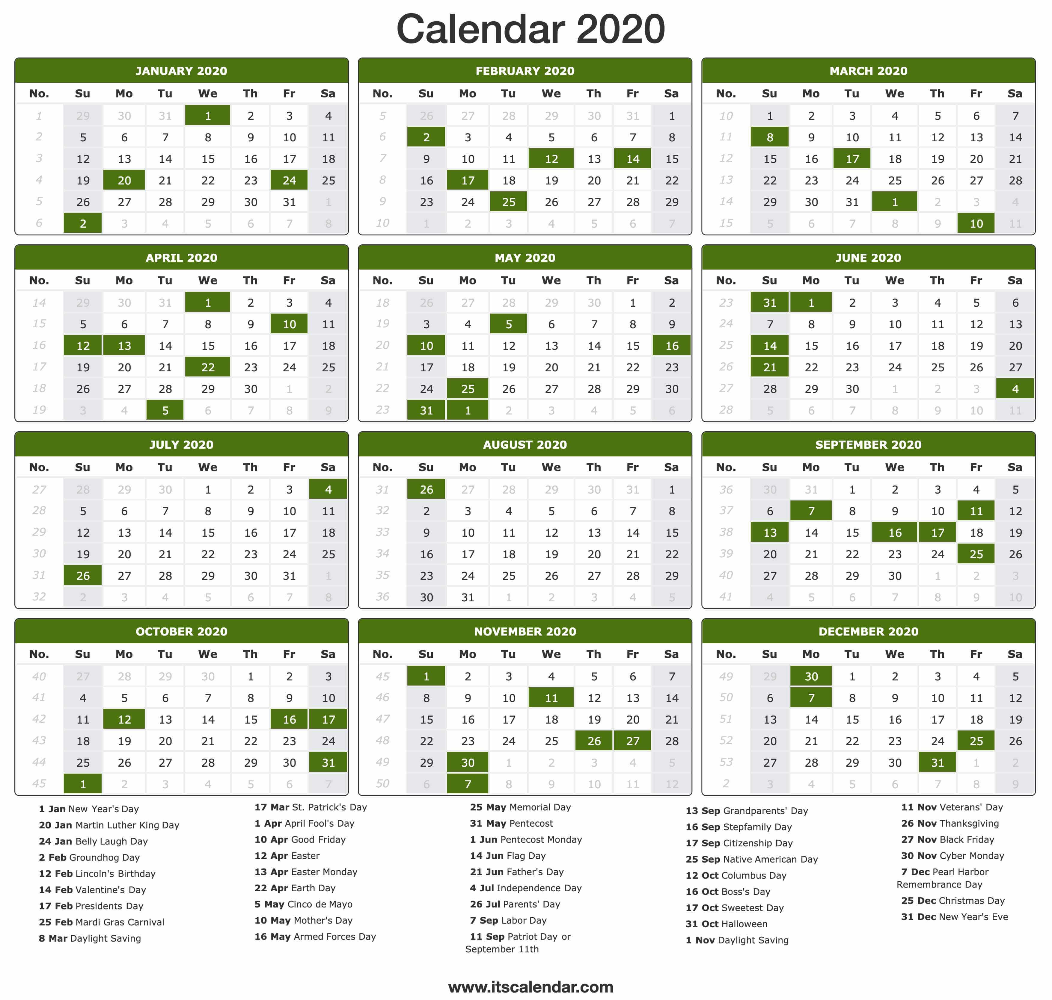 2020 Calendar Printable Portrait
